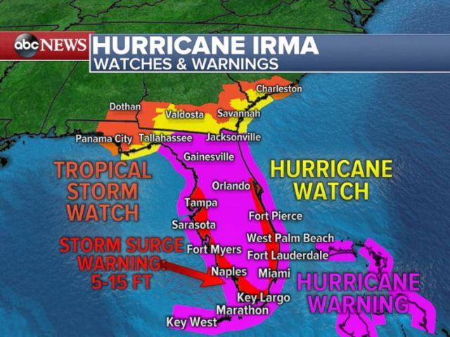 PHOTO: Hurricane Irma watches and warnings map.