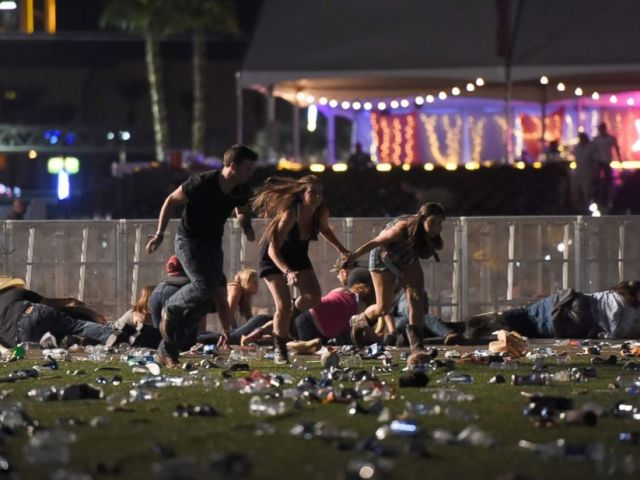 PHOTO: People run from the Route 91 Harvest country music festival after gun fire was heard on Oct. 1, 2017, in Las Vegas, Nevada.