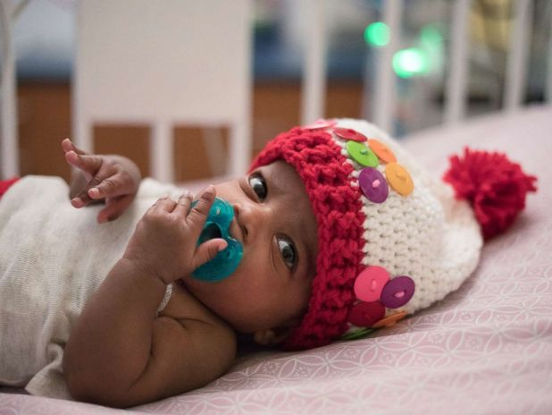 PHOTO: Childrens Healthcare of Atlantas NICU nurse Tara Fankhauser knit costumes for patients like Charleigh, who dressed as a gumball machine.