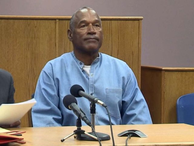 PHOTO: O.J. Simpson appears in the parole hearing room to attend his hearing at the Lovelock Correctional Center in Lovelock, Nevada, July 20, 2017.