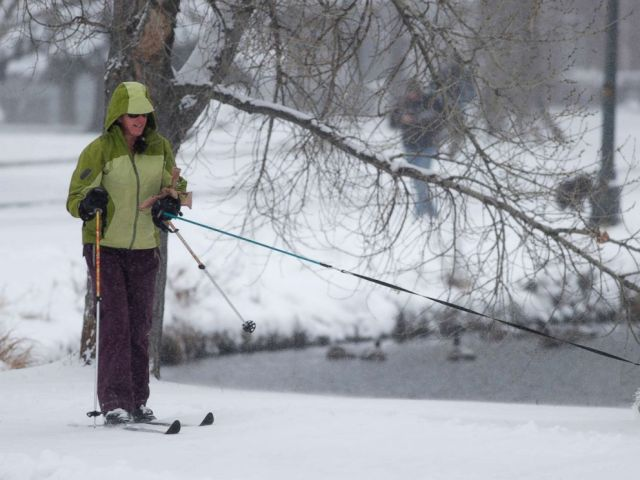 PHOTO: Jennifer Robbins of Denver cross-country skis with her chocolate Labrador named Koa in Washington Park, Jan. 21, 2018, in Denver.