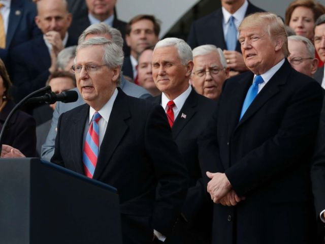 PHOTO: Senate Majority Leader Mitch McConnell speaks as President Donald Trump, Vice President Mike Pence and Congressional Republicans gathered to celebrate passage of sweeping tax overhaul legislation on the South Lawn of the White House, Dec. 20, 2017.