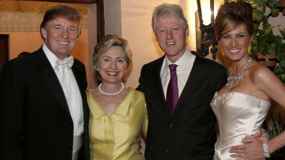 Bill and Hillary Clinton at Donald Trump's wedding