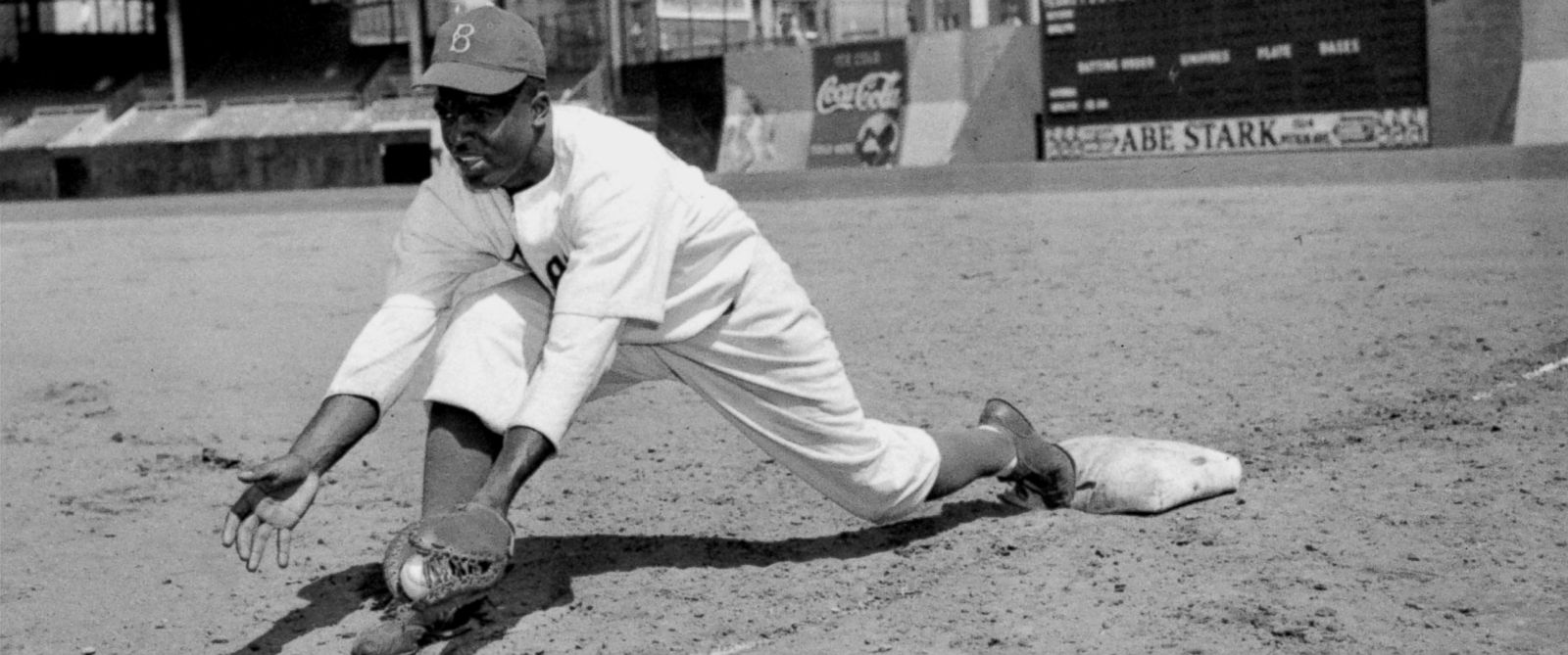 PHOTO: Jackie Robinson, Brooklyn Dodgers first baseman, is shown at Ebbets Field, April 11, 1947.