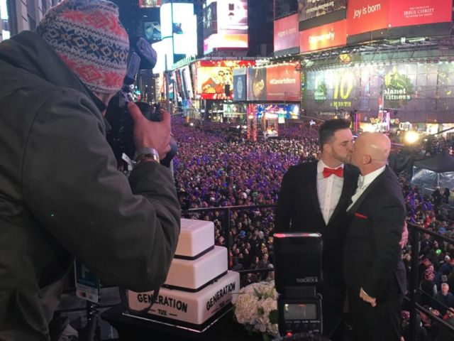 PHOTO:Alexander and Michael Eisele-Westbrook were the runners-up in the competition and were also married in Times Square during the New Years Eve festivities.