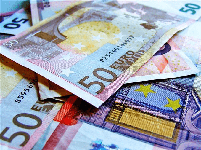Euro banknotes in denominations of 50
