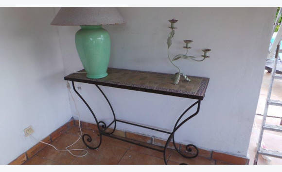 wrought iron and marble console