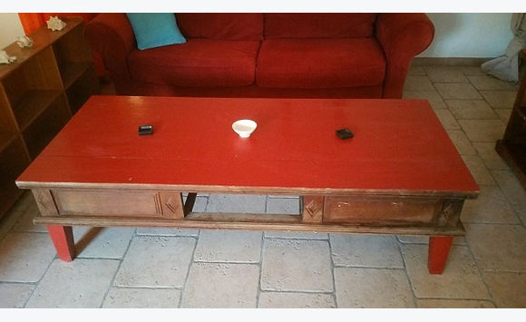red painted teak coffee table