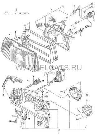 Разлчия оптики Ауди В3/В4 (1986-1992) и Coupe typ 89 (1988