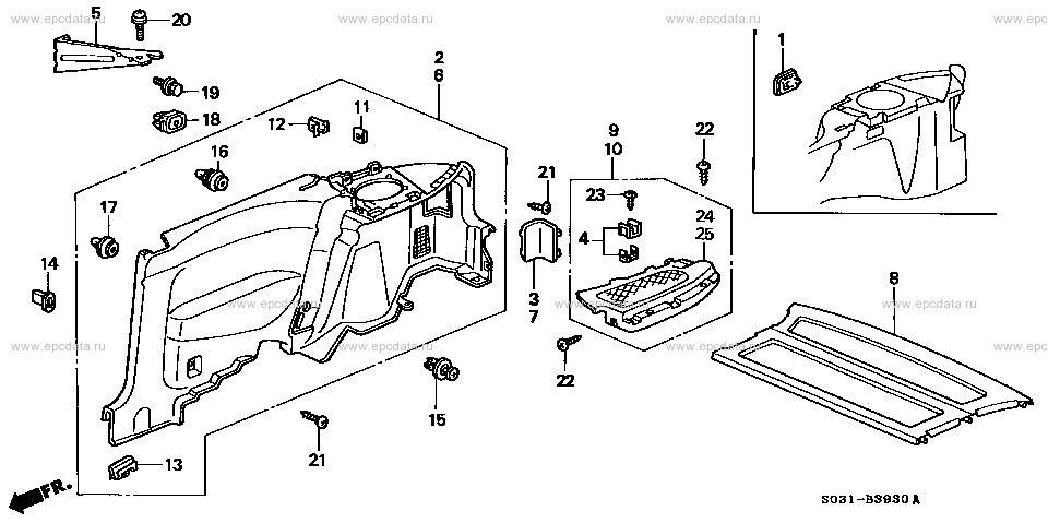 Полка багажника. — logbook Honda Civic Hatchback 200
