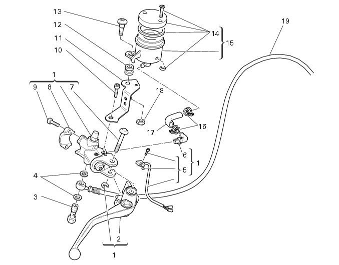 Ducati Hypermotard 1100 Evo — привод переднего тормоза