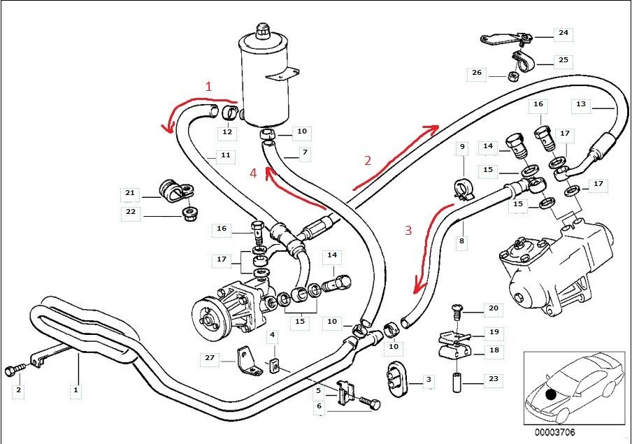 Замена шлангов и жидкости ГУР на bmw e34 — бортжурнал BMW