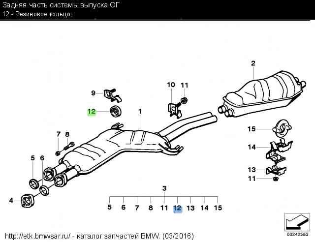 Резиновые кольца задней части системы выпуска ОГ