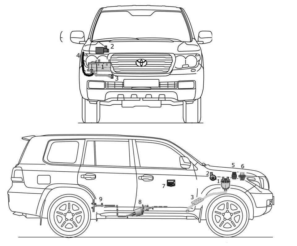 Установка подогревателя на Toyota Land Cruiser Prado 150