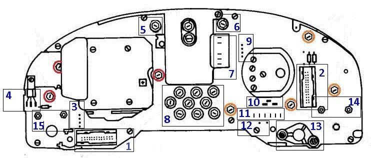 Распиновка (контакты) приборной панели VDO для Audi 80