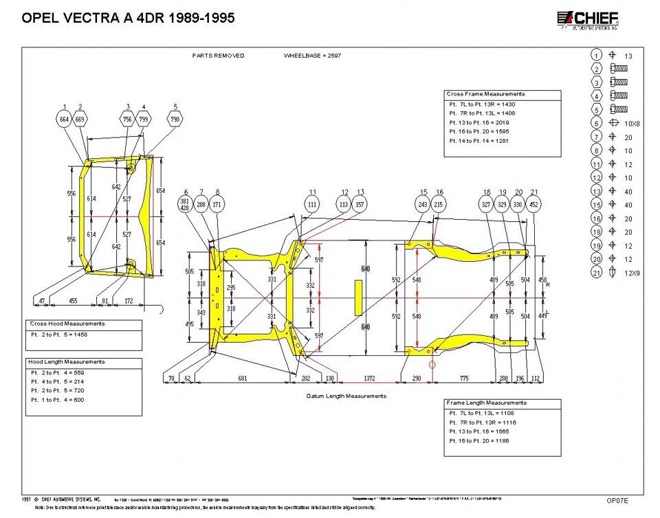 геометрические размеры кузова Opel Vectra (1988-1995