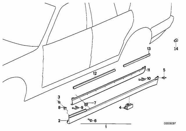 Установка пластиковых накладок порогов M-тех e34
