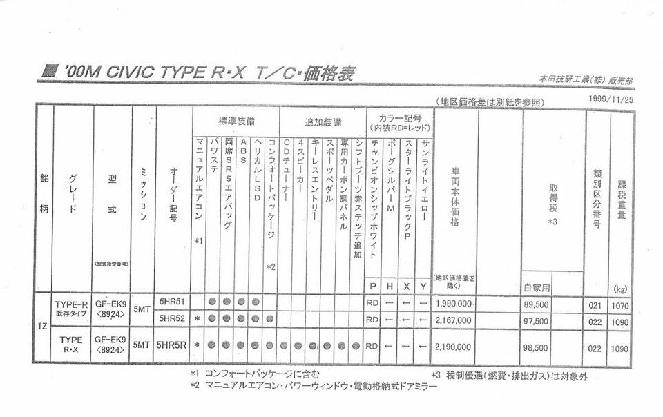 1999 Honda Civic Mk6 Type R X Brochure Japan — logbook