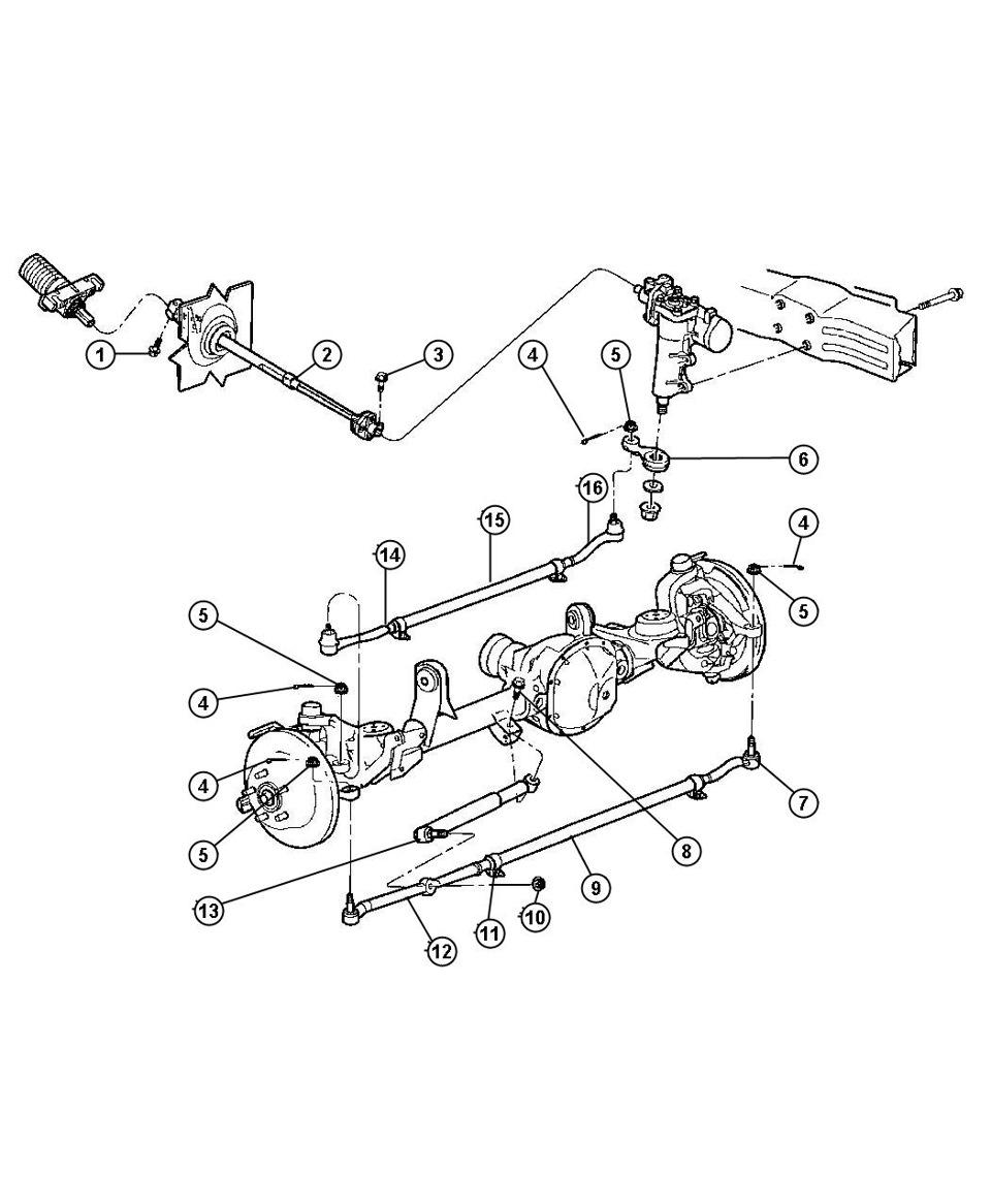 Взрыв-схема рулевого управления на WJ и парт-номера