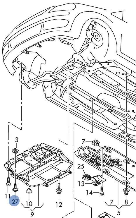Саморез 5x16 крепления пластиковой защиты моторного отсека