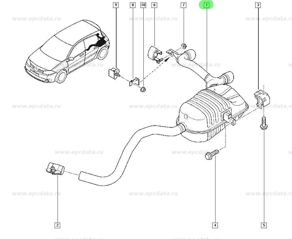 Накладка заднего бампера от Renault Megane II хетчбек
