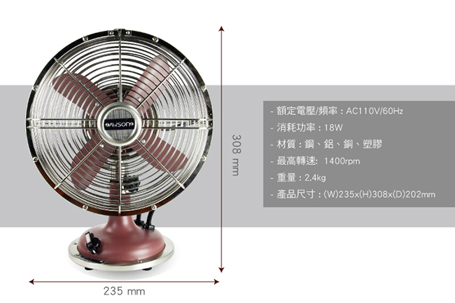 【AWSON】全金屬9吋復古風扇(AS-MAF901)-藍色 - PChome 24h購物