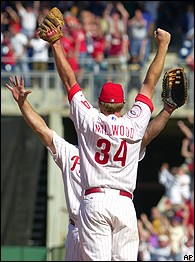 Kevin Millwood is surrounded by his teammates as he celebrates his April, 2003 no hitter against the San Francisco Giants (via ESPN)