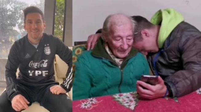 La emoción de Don Hernán, el abuelo de 100 años que recibió un mensaje de Messi - ESPN Video