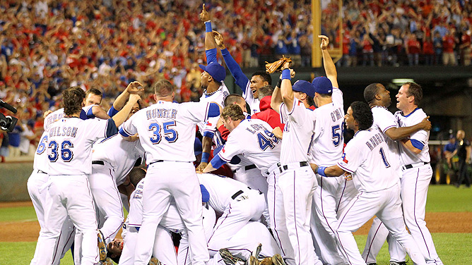 Image result for 2010 rangers win pennant
