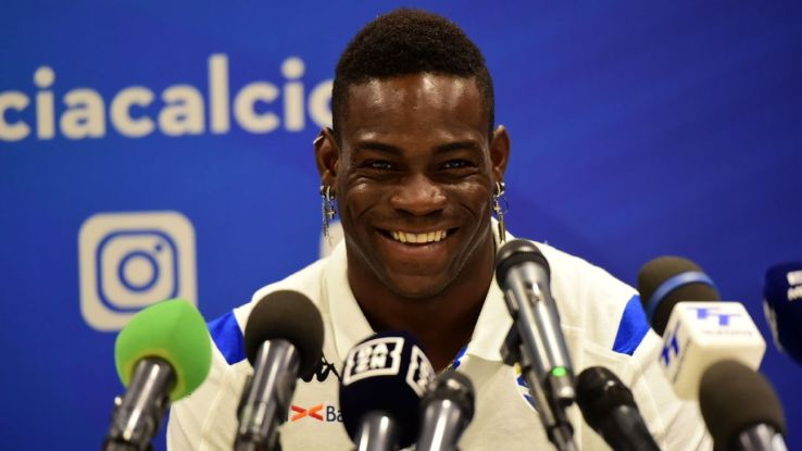 Mario Balotelli speaks to the media after being unveiled with his new club Brescia.