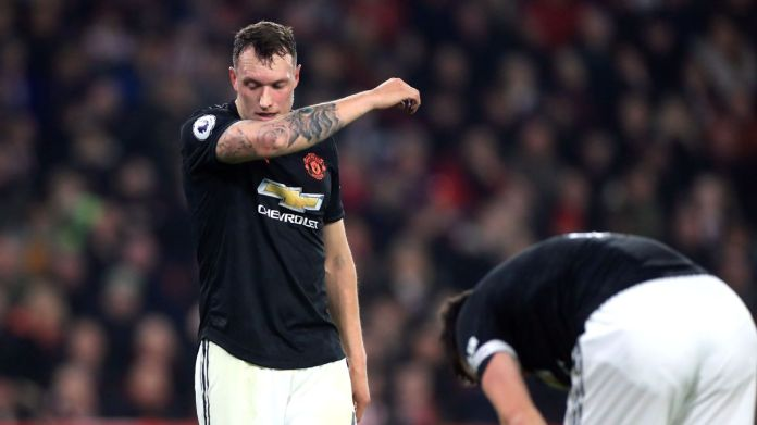 Phil Jones looks on during Manchester United's Premier League draw at Sheffield United.