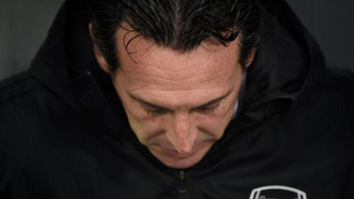 Unai Emery looks on during Arsenal's Europa League match against Vitoria Guimaraes.