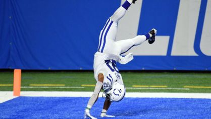 Indianapolis Colts' Nyheim Hines celebrates with fantastic flips after two  TD catches