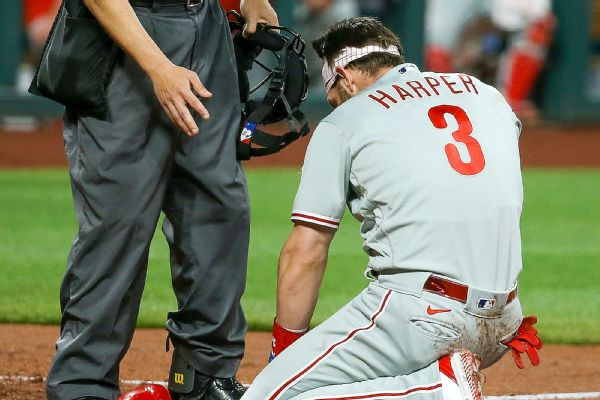 Harper 'all good' after 96.9 mph heater hits face