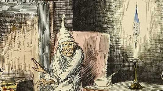 Scrooge illustrated by John Leech, from the 1843 first edition.