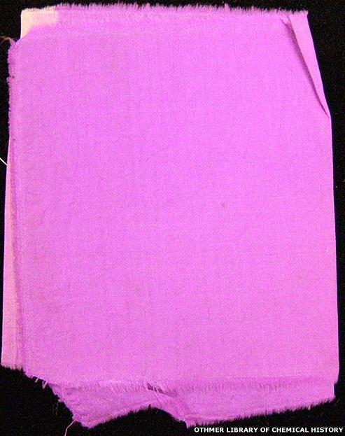 Pedazo de tela original, teñida con el color hecho por Perkin