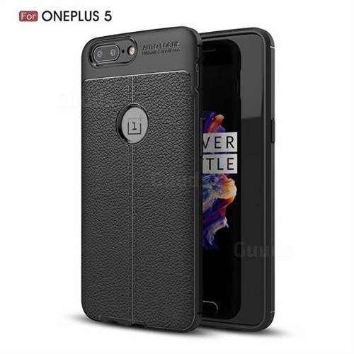 Luxury Auto Focus Litchi Texture Silicone TPU Back Cover for OnePlus 5 - Black - TPU Case - Guuds