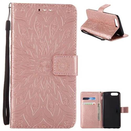 Embossing Sunflower Leather Wallet Case for OnePlus 5 - Rose Gold - Leather Case - Guuds