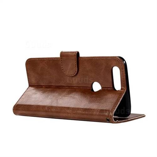 Luxury Retro Leather Wallet Case for OnePlus 5T - Brown - Leather Case - Guuds