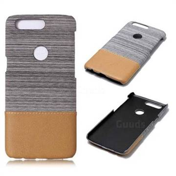 Canvas Cloth Coated Plastic Back Cover for OnePlus 5T - Light Grey - Leather Case - Guuds