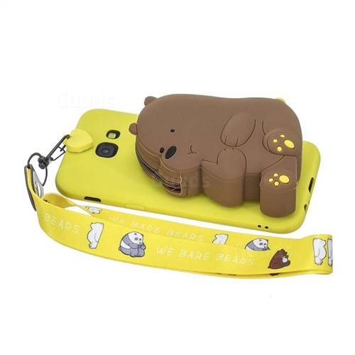 Yellow Bear Neck Lanyard Zipper Wallet Silicone Case for Samsung Galaxy A5 2017 A520 - TPU Case - Guuds