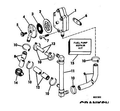Fuel flow chart 1984' 115hp Evinrude V4 Flat head Page: 1