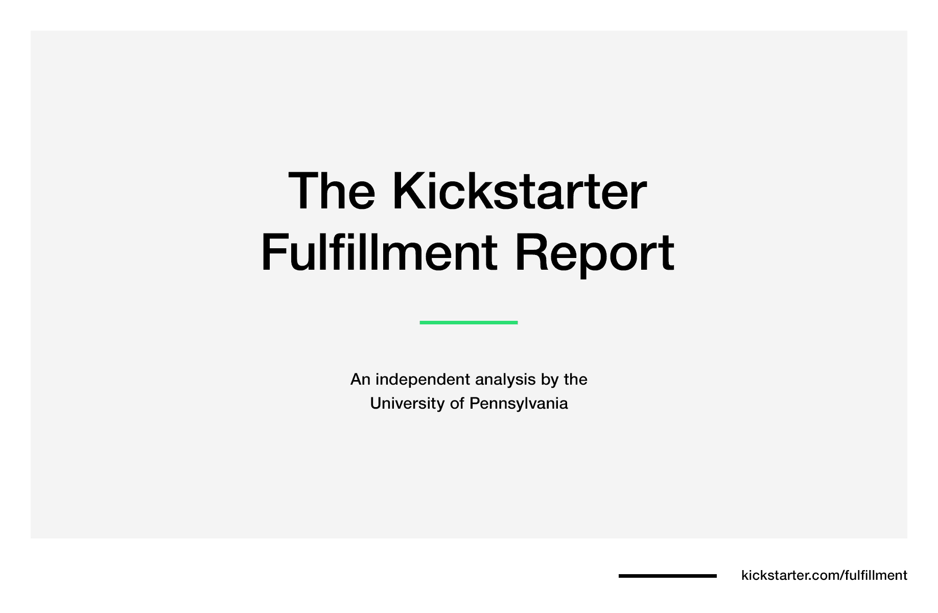Kickstarter Fulfillment Report — Kickstarter
