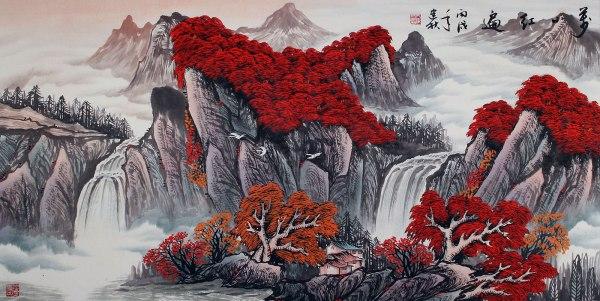 Red Leaves Of Autumn - Asian Art Landscape Landscapes