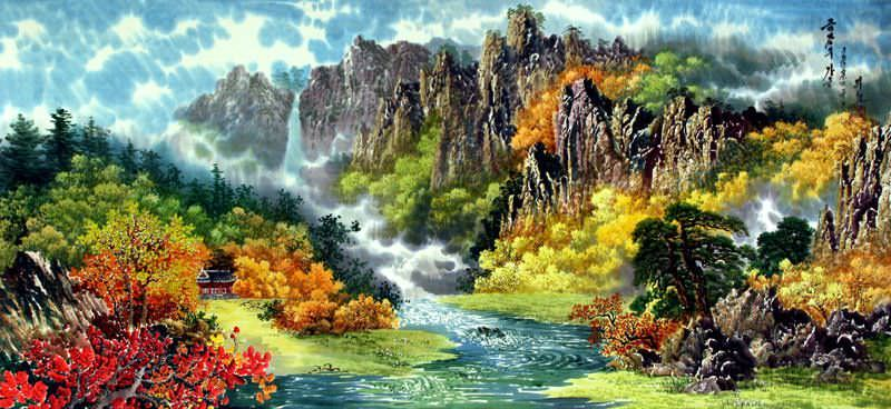 Chinese Calligraphy Wallpaper Hd North Korean Waterfall Landscape Painting Landscapes Of