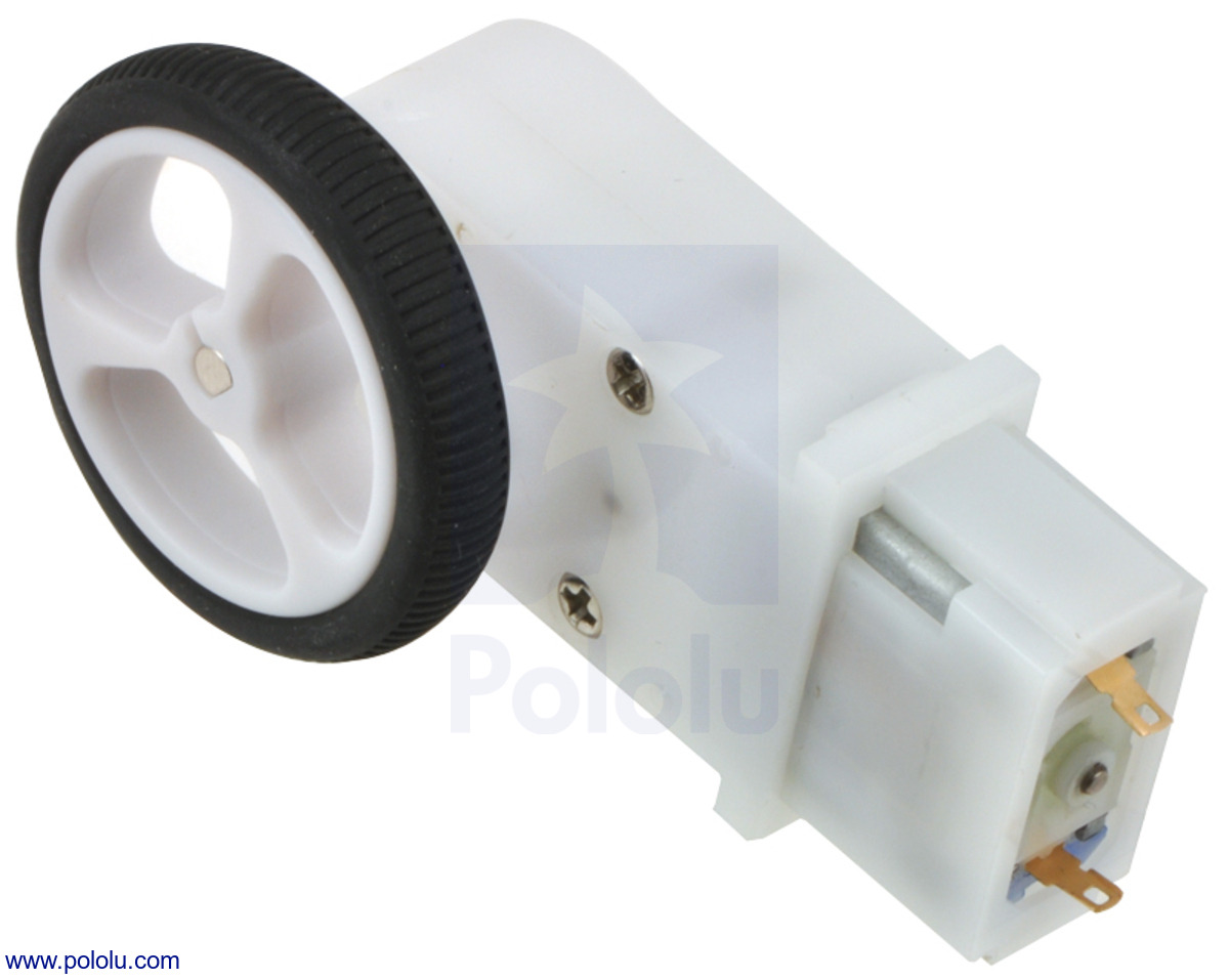 mini plastic gearmotor 90 degree 3mm d shaft output with pololu 32 7mm wheel  [ 1200 x 957 Pixel ]