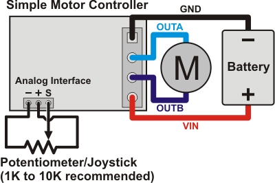 diagram motor control wiring 7 pin blade trailer plug pololu simple controller user s guide for connecting a potentiometer or joystick to