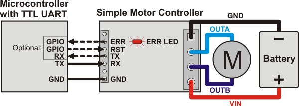 diagram motor control wiring ge refrigerator door pololu simple controller user s guide connecting one of the microcontroller digital outputs to rst pin allows selectively reset