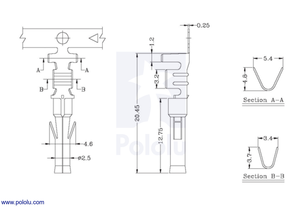 female tamiya connector crimp pin dimensions in mm  [ 1200 x 824 Pixel ]