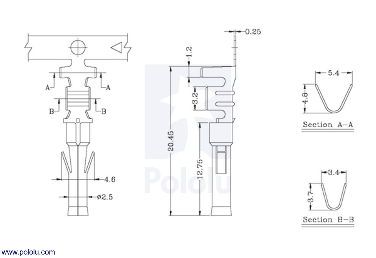 medium resolution of female tamiya connector crimp pin dimensions in mm